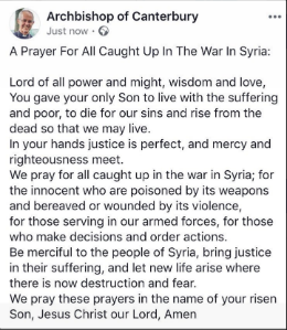 Archbishops prayer for peace in Syria
