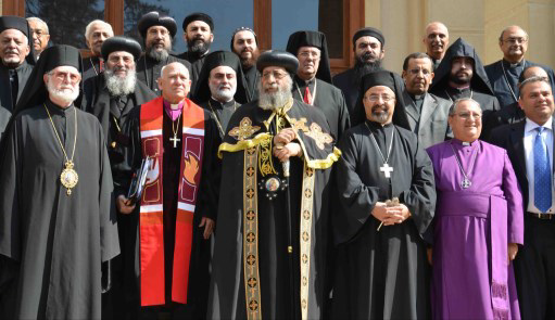 Bishop Mouneer with head of churches in Egypt outside the Cathedral