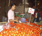 Badry selling his vegetables