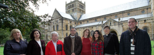 The visitors outside the Cathedral