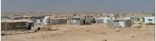 Refugee camp, buildings stretchng to the horizon