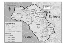 Map showing border between Sudan and Ethiopia
