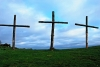 Three wooden crosses on the top of a hill, taken at Lee Abbey
