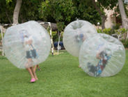 Playing games in large inflatable bubbles