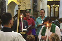 Sharing the eurcharist in St George's Cathedral, jerusalem
