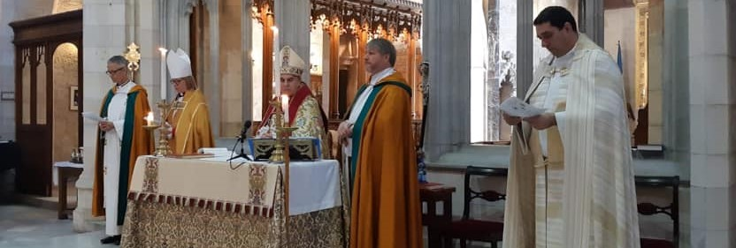 Dean Hosam serving alongside Archbishop Suheil Dawani in St George's Cathedral