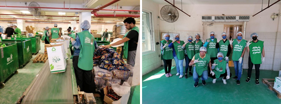 Young people helping in the food bank wearing protective masks and overalls