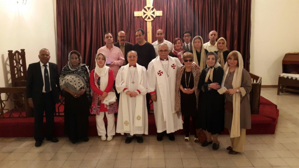 Bishop Mouneer with Bishop Azad and the congregation of St Lukes