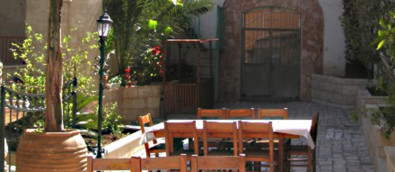 The garden dining area of the guesthouse